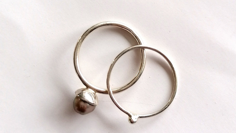 Stacked Rings with Pearl