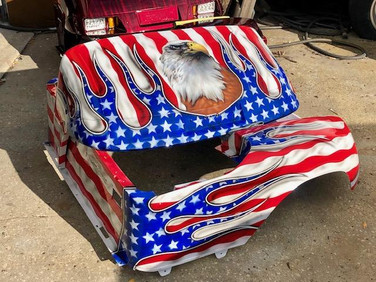 American Flag Flames Eagle Golf cart body by Liquid Lenny's Customs