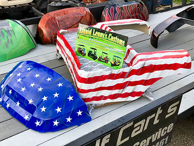 American Flag Custom Golf Cart Body Liquid Lenny's Customs Precedent Body Custom Paint