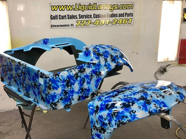 Blue Digital Camo Golf Cart Body by Liquid Lenny's Customs
