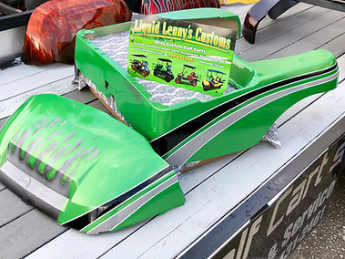 Envy Green Black and Silver Custom painted golf cart body precedent body Liquid Lenny's Customs
