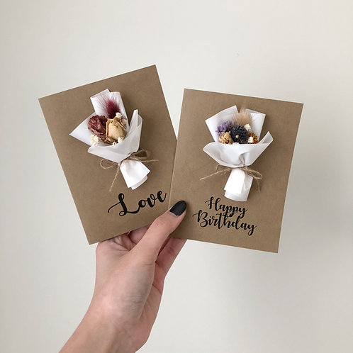 Personalized Dried Flower Cards - Kraft (Mini bouquet - Calligraphy)
