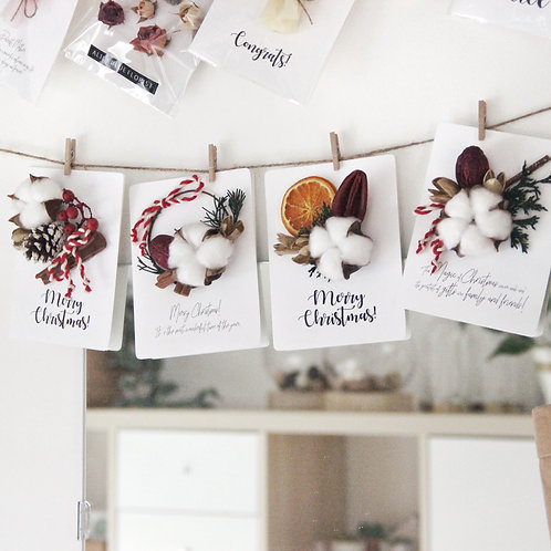 Christmas Dried Flower & Fruit Cards (Orange Scent- Calligraphy)
