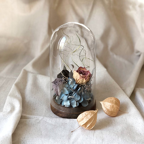 Dried Flower Arrangement in Glass Dome with Wooden Base (Pink & Purple Rose