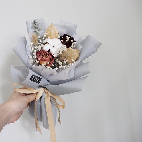Petite Dried Flower Bouquet ( Warm Tone - Dusty Blue)