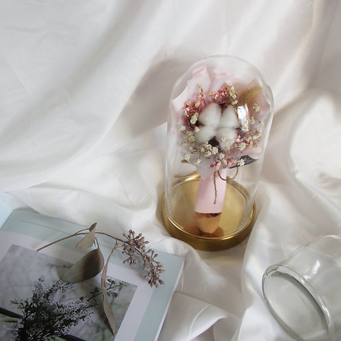 Mini Cotton Bouquet in Glass Dome (Pink)