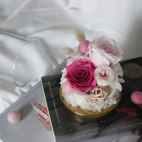 Preserved Flower in Glass Dome (Pink-tone)