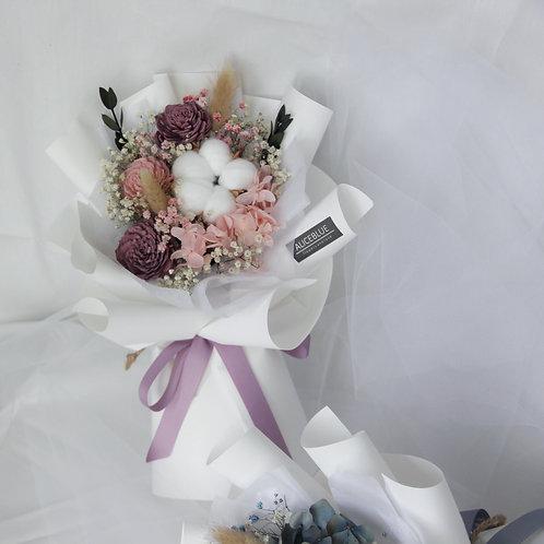 Petite Preserved Flower Bouquet (Pinkish Purple - White)