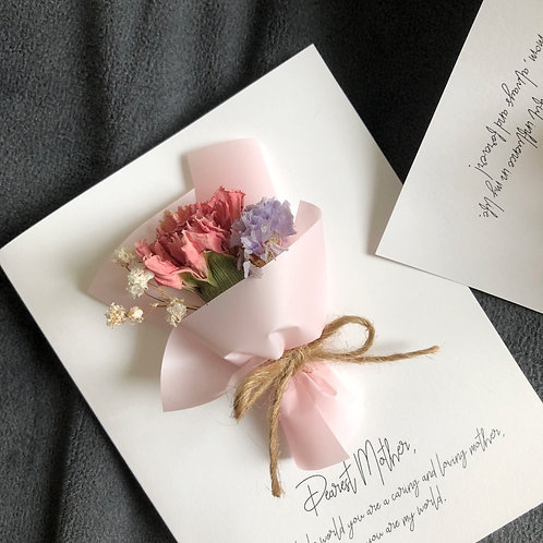 For Mom - Dried Flower Mini Bouquet Cards (Carnation - Calligraphy)