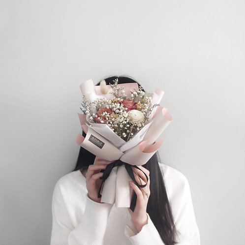 Petite Dried Flower Bouquet ( Pink Rose- Beige)