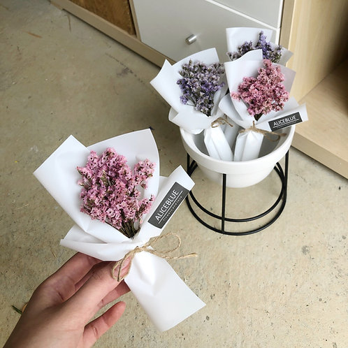 Mini Dried Flower Bouquet - Crystal Statice