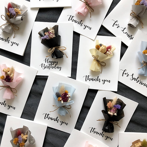 Personalized Dried Flower Cards (Mini bouquet - Calligraphy)