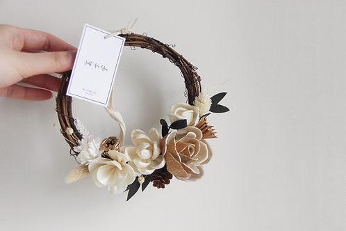 "Sola Flowers Decorated Wreath 6"" - Creamy Truffle"