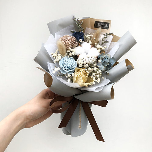 Petite Preserved Flower Bouquet (Dusty Blue - Grey)