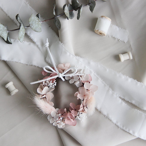 """Dried Flowers Decorated Wreath 3"""" (Peach Blossom)"""
