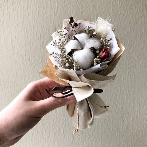 Mini Dried Cotton Flower Bouquet (Kraft- Linen)