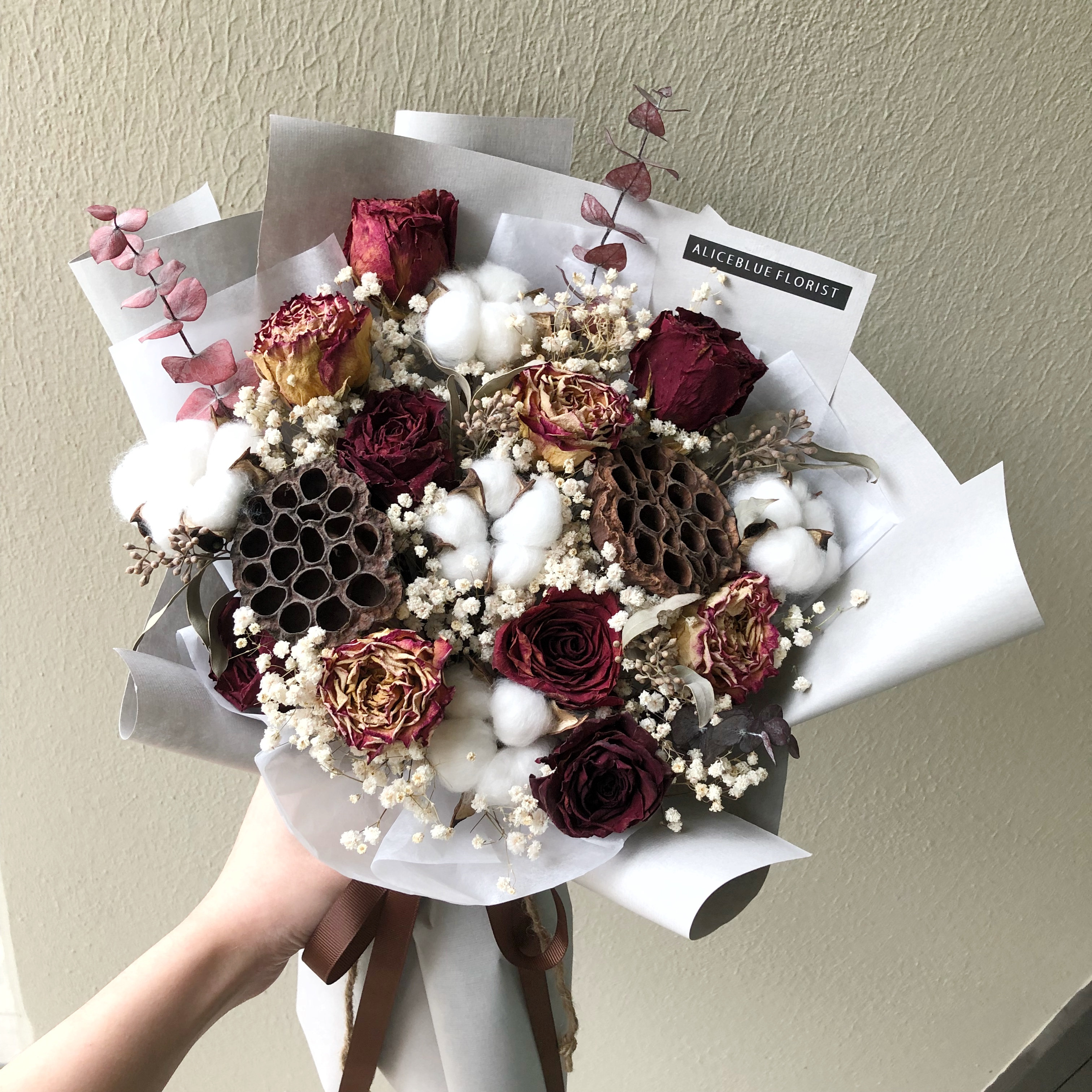 Deluxe Dried Flower Bouquet Burgundy Aliceblueflorist