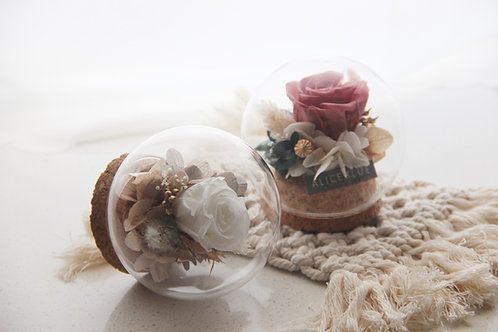 Mini Preserved Flower in Sphere (White Dove & Soft Clay)