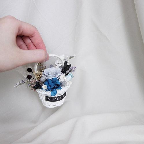 Mini Preserved Flower Basket Car Vent Clip (Caroline)