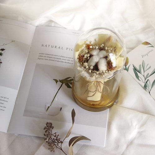 Mini Cotton Bouquet in Glass Dome (Puff)