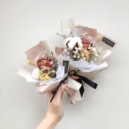 Mini Dried Cotton Flower Bouquet - Rose Gold