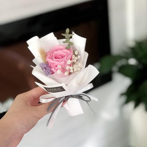 Single Stem Presevered Flower Bouquet (Pink Rose)