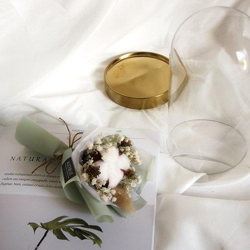 Mini Cotton Bouquet in Glass Dome (Pea)