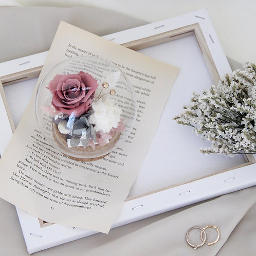 Petite Preserved Flower in Sphere - French Romance