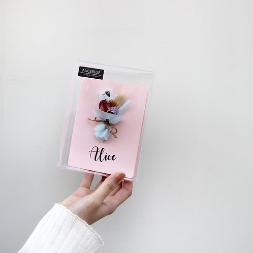 Personalized Dried Flower Cards - Pink (Mini bouquet - Calligraphy)