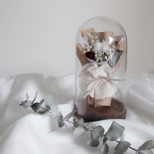 Mini Cotton Bouquet in Glass Dome with Wooden Base (Kraft-Linen)