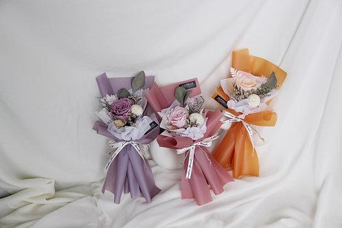 Mini Preserved Flower Bouquet (Pink, Purple & Orange)
