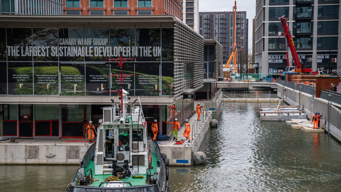 Floating Pavilions Sail into Canary Wharf