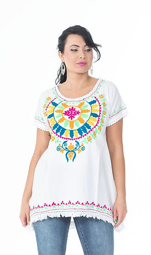 High Low Embroidered Top