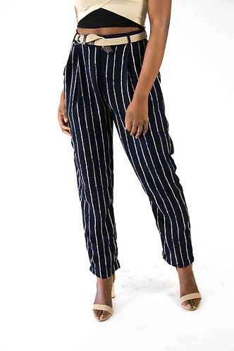 Stripped Fitted Trouser