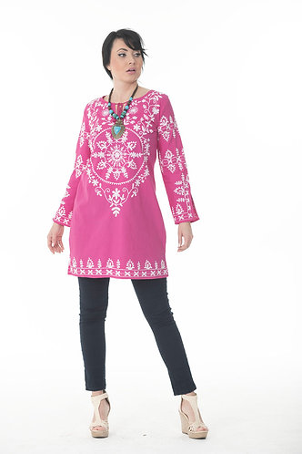 Round Neck Embroidered Tunic Top