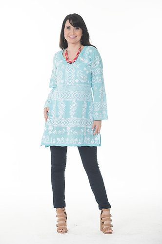 V Neck Embroidered Tunic Top