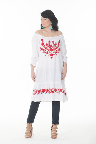 Off the Shoulder Embroidered Tunic Top