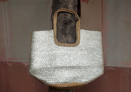 SILVER FINISHED JUTE HANDBAG