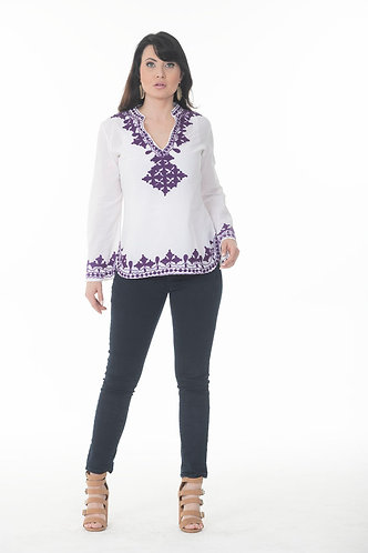 Stand Collar Embroidered Top