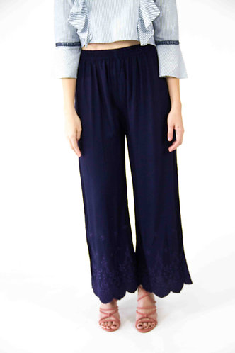 Blue Fitted Culottes