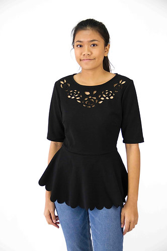 Peplum Cutwork Top