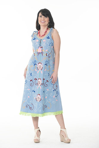 Shoulder Tie-up Embroidered Dress