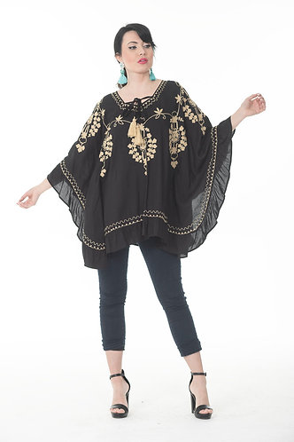 Hand Embroidered Poncho Top