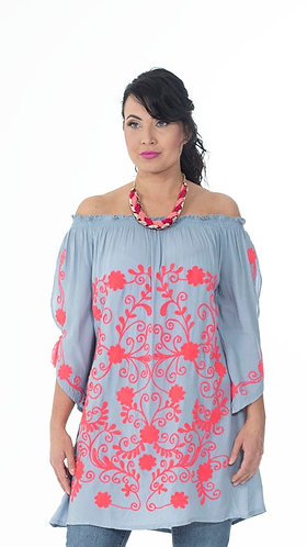 Petal Sleeve Embroidered Top