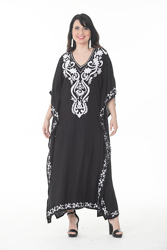Trendy White Embroidered Long Kaftan