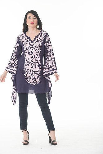 Intense Embroidered Short Kaftan Top