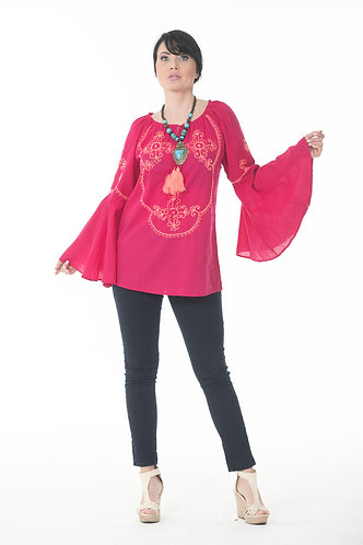 Tie up Neck Top with Embroidery
