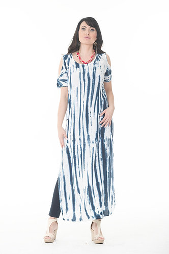 Cold Shoulder Long Slit Kaftan