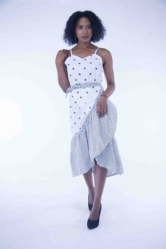 Wrap Polka Dotted Long Dress