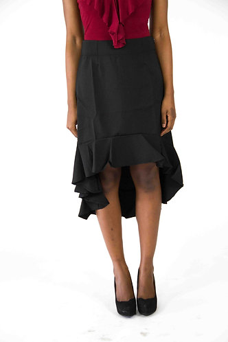 Ruffled High Low Skirt